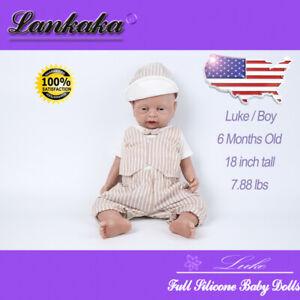 """18"""" Newborn Full Silicone Reborn Baby Dolls Toy Lifelike Puppen Doll Boy for Kid"""