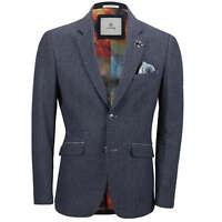 Mens Herringbone Tweed Blazer Smart Casual Tailored Fit Vintage Jacket Navy Blue