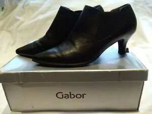 Gabor BLACK Leather Mid-Heel Ankle/Shoe Boots Sz 5.5 (38.5)