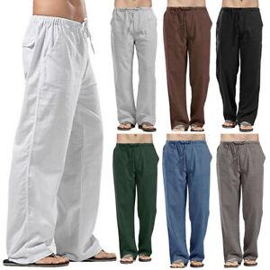 Mens Cotton Linen Baggy Trousers Wide Leg Elastic Waist Casual Loose Harem Pants