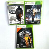 XBOX 360 BATTLEFIELD bundle of 3 games BAD COMPANY 2, 3 and 3 LIMITED EDITION
