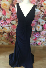 Gino Cerruti Long Midnight Blue Knot Ruched Prom Evening Gown Dress Size 10