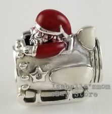 SANTA IN SPACE Authentic PANDORA Red Enamel CHRISTMAS Charm 797511ENMX w POUCH!