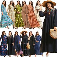 Vestido De Verano mujeres Escote en V Floral Boho Largo Maxi Vestido De Verano Playa Damas Suelto Plus