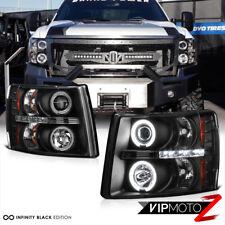 07-14 V8 Silverado 1500/2500/3500 HD CCFL Halo LED Projector Black Headlight L+R