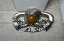 Denmark Scandinavian Silver Skonvirke Amber Brooch c1900 Arts & Crafts