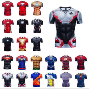 Men's T-shirts Compression 3D Printed Marvel Avenger Tee Gym Tops Short Sleeve
