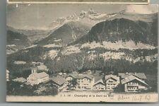1903 CHAMPÉRY ET LA DENTS DU MIDI cartolina viaggiata Monthey Valais