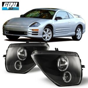 Fits For 00-05 Mitsubishi Eclipse Projector LED Halo Headlights - Black-Clear