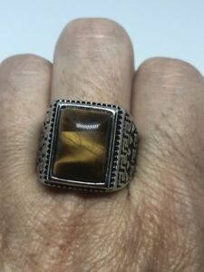 Vintage Stainless Steel Genuine Tiger's Eye Size 13 Men's Ring