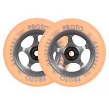 Pair Of Proto Grippers Faded 110mm Stunt Scooter Wheels - Grey - Orange