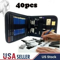 40PCS Professional Drawing Artist Kit Set Pencils and Sketch Charcoal Art Tool T