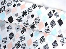 Bezugsstoff Vorhangstoff Stoff Baumwolle Mix kariert weiß mint rosa Meterw.9169