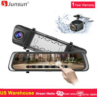 Junsun 10'' Dual Lens HD 1080P Dash Cam Car DVR Rearview Mirror Backup Camera