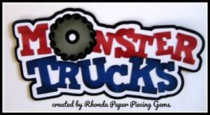 MONSTER TRUCKS BOY title paper piecing for Premade Scrapbook Pages  by Rhonda