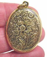GOLD FILLED OVAL LOCKET DENSE DESIGN 20 X 30 MM 5.7 GRAMS VINTAGE