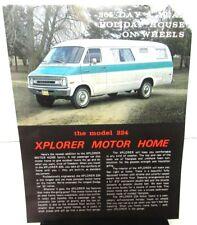 Vintage 1971 Xplorer Motor Home RV Sales Leaflet Model 224 Dodge Van Chassis