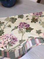 WAVERLY Double Layered Hydrangea Green Stripe Floral Valance EUC