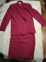 Vintage Jones New York Purple Fuschia 2pc Suit Blazer Skirt Size 6 (cb12)
