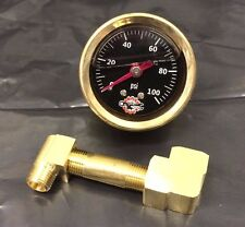 BRASS IRONHEAD SPORTSTER OIL PRESSURE GAUGE pipe MOUNT bobber chopper black 100