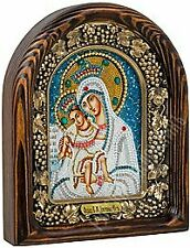 Russian handmade religioin icon of the Mother of God (Merciful) Bead