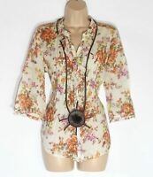 Women's Vintage MAPP 3/4 Sleeve Semi Fitted Cream Floral Cotton Blouse Shirt L