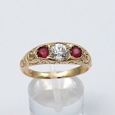 Victorian 14K Rose Gold 1.02 btw Old Mine Cut Diamond Ruby Band Ring Unisex Sz10