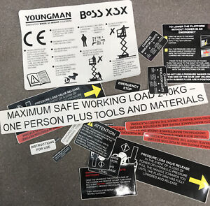 YOUNGMAN BOSS X3X SAFETY DECALS STICKER SIGN KIT