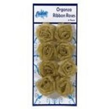 Creative Expressions ORGANZA RIBBON ROSES  8 pieces METALLIC GOLD RR-019