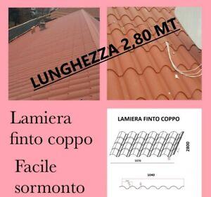 LAMIERA ONDULATA FINTO COPPO COPERTURA TETTO LUNGA 2,80 Mt Sp 0,5