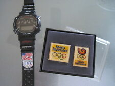 Olympic Souvenirs Kellogg Sports Watch & Sports Illustrated Label Pins