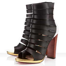 Christian Louboutin 40 6 Decoupata Colour Block Leather Ankle Boots Black White