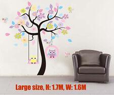 Wall stickers Owl Scroll Tree Hoot swing Decal Art  Nursery Removable Baby Decor