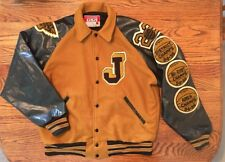 "Vintage Awards USA Varsity Letterman Wool Jacket Black Gold Football ""J"" Size L"