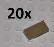 LEGO PARTS - 20X 1X2 DARK TAN TILES/FLAT BUILDING PIECES/BULK PANELS/3069/BEIGE