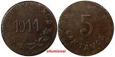 Mexico-Revolutionary DURANGO Copper 1914 5 Centavos 1 YEAR TYPE VF KM# 631