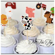 12x Animal Farm Barn Cupcake Toppers Picks. Wild Party Supplies Lolly Loot Bag