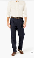 NWT Dockers Wrinkle Free Pleated Pants Classic Fit Navy Blue Mens 33 x 30