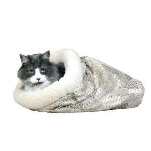 Cat Bed 15X18 In Crinkle Sack Hide Peek Nap Lined Plush Lambs Wool Poly Cotton