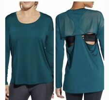 CALIA by Carrie Underwood Women's Move Mesh Back Long Sleeve Shirt Deep Teal.