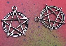 10 Charms Pentagram Pendants Pentacle Supernatural Wicca Pagan Charm Pentagrams