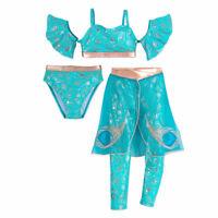 Disney Princess Jasmine Deluxe 3pc Swimsuit Costume Set Girls 2 3 4 5/6 7/8 9/10