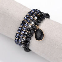 4 Strand Nature Stone Stretch Bracelet Water Drop Beads Charm Bangle For Women