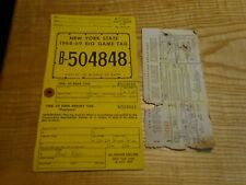 1968 New York Citizen  Resident Big Game Hunting License Back Tag B-504848