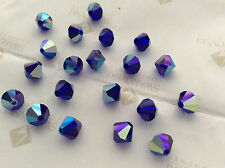 72 Swarovski #5301 6mm Crystal Cobalt Blue AB Faceted Bicone Beads