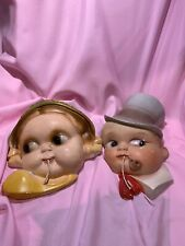 Vintage Chalkware String Holders Set of Boy and Girl Very Heavy!