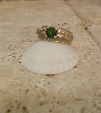 14k Yellow Gold CHROME Diopside DIAMOND Band Ring A Great Gift Idea!