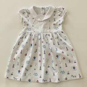 Kissy Kissy Toddler Girl 3T Pima Cotton Nautical Dress Short Sleeve White