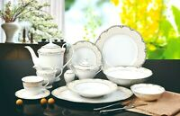 57 Piece Euro Porcelain Lola Bone China Dinner Dish Set for 8 - White Scalloped
