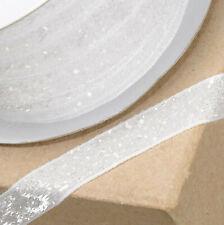 WHITE VELVET GLITZY RIBBON 10mm x 10M CRAFT CHRISTMAS CAKE GIFT WRAP BIRTHDAY